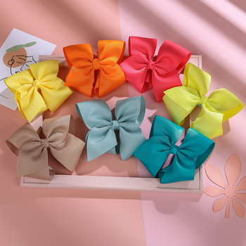 Solid Colour Hair Clip Bows For Baby Girl Hairpins For Kids Cute Children New Year Hair Accessories Korean Hair Clips Wholesale image