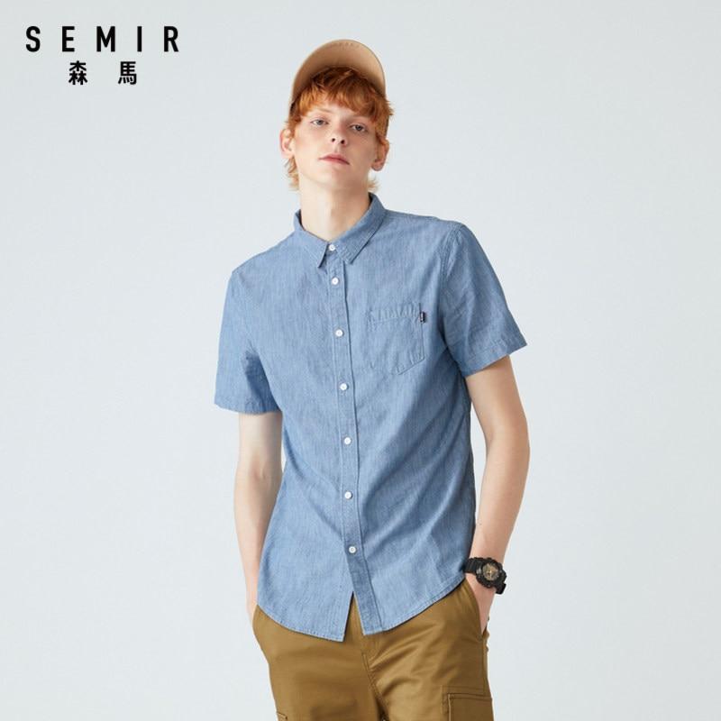 SEMIR Summer Fashion Brand shirt Men Clothes Slim Fit Short Sleeve Shirts Men Solid Cotton Casual Men Shirt Social Plus Size