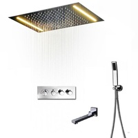 LED Thermostatic 3 way shower mixer set rainfall concealed ceiling showerhead 304 sus + brass thermostatic diverter valve