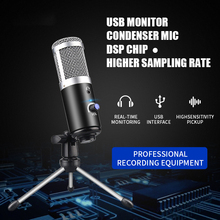 professional podcast microphone Desktop Tripod Stand Laptop with Sound Card Youtube Recording Metal cardioid condenser USB  mic