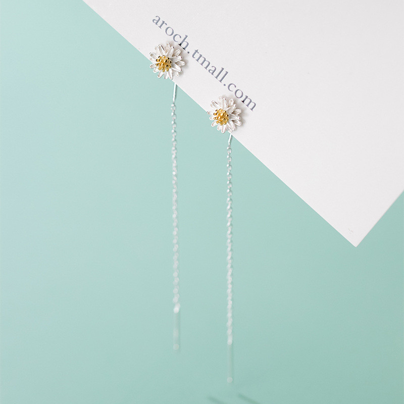 WANTME Real 925 Sterling Silver Small Daisy Drop Earrings for Women Fashion Korean Long Ear Line Chic Party Jewelry Accessories