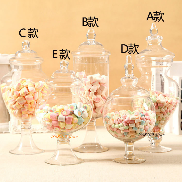 Transparent Glass Candy Jar European Lead-free Glass Storage Tank Food Storage Jar Wedding Dessert Decoration Storage Bottle