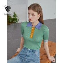 FANSILANEN-Camiseta de manga corta de seda de hielo para mujer, ropa con costuras contrastantes, Top, cuello tipo POLO, novedad de verano