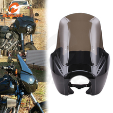Oumurs motocicleta 15 windshield windshield pára brisa pára brisas frente trimestre farol cowl carenagem máscara de ferragem para harley dyna glide largura 06 17