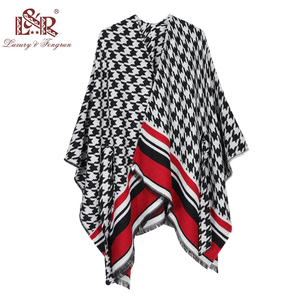 Image 5 - 2020 New Design Waistban Dess Winter Poncho for Women Ladies Cashmere Wool Ponchos Leather Hem Shawl Knitted Women Poncho Scarf