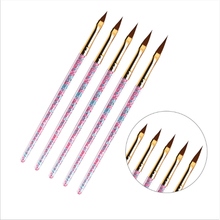 5 pcs Crystal Nail Art Line Painting Brushes UV Gel Acrylic Brush Stripe Flower Painting Carving Toe Drawing Pen Manicure Tools