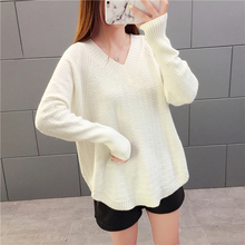 Women's Sweater Loose V-neck Pullover Sweater Female Winter Knit Sweaters Plus Size v neck bib zippered knit sweater