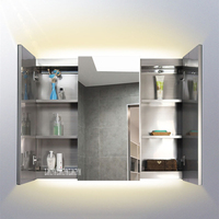 Stainless Steel Silver Mirror Cabinet Toilet Wall Mounted Cabinet Bathroom Storage Cabinet With Light 220V/110V 12W