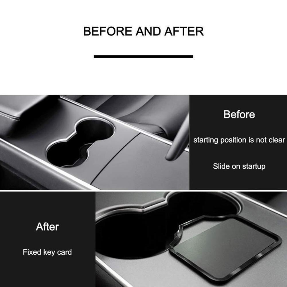 1pc Car Engine Start Card Key Position Trim Frame Holder 3 Fixer Decoration Limiting Sticker For Tesla Accessories Model St F8V6