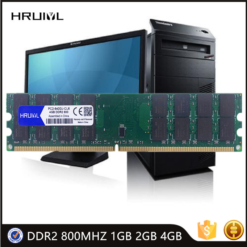 HRUIYL Inter Memory DDR2 800MHZ 1GB 2GB 4GB RAM Memoria Module DIMM PC Motherboard PC2-6400U Memoria New Memoria Sticks RAM New