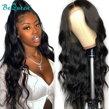BeQueen Brazilian Hair Body Wave Lace Front Wig Glueless Lace Front Human Hair Wigs 180 Density 13x4 Lace Closure Frontal Wig