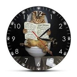 Kotek kot na wc z gazety sypialnia cichy  ścienny zegar śmieszne łazienka ściany sztuki dekoracyjne zegar ścienny prezent dla właścicieli kotów
