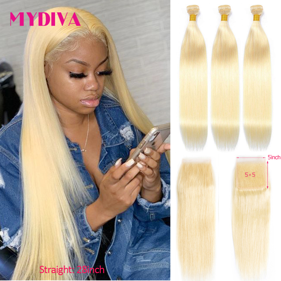 613 Bundles With 5x5 Closure Brazilian Straight 3 Bundles With Lace Closure Human Hair Weave Blonde Bundles With Closure Remy