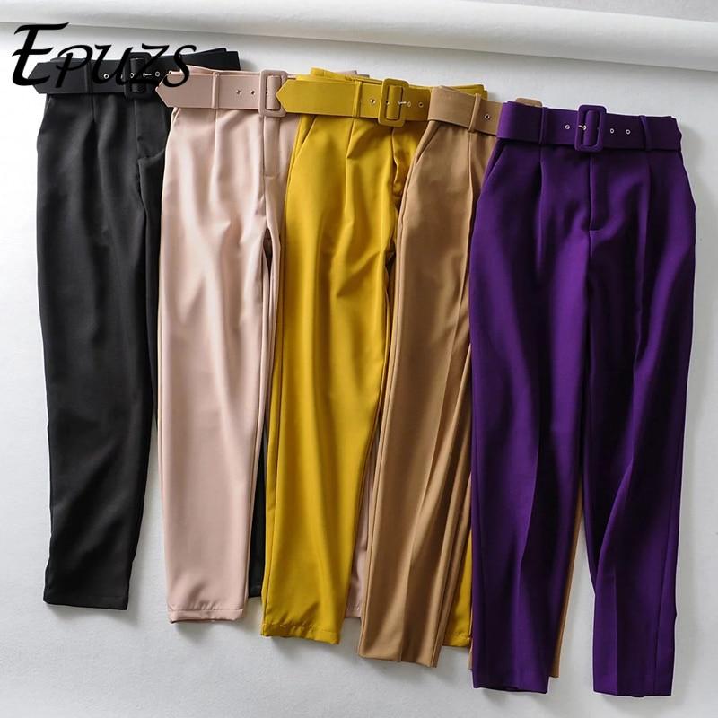 Elegant Black High Waist Pants Women Sashes Pockets Zipper Office Pants Streetwear Winter Long Trousers Women