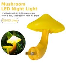 EU Plug Warm Mushroom LED Night Light Room Decor Light control Sensor Wall Socket Lamp Light Home Bedroom Decoration