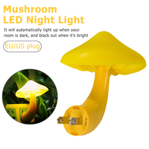 Image 1 - EU Plug Warm Mushroom LED Night Light Room Decor Light control Sensor Wall Socket Lamp Light Home Bedroom Decoration