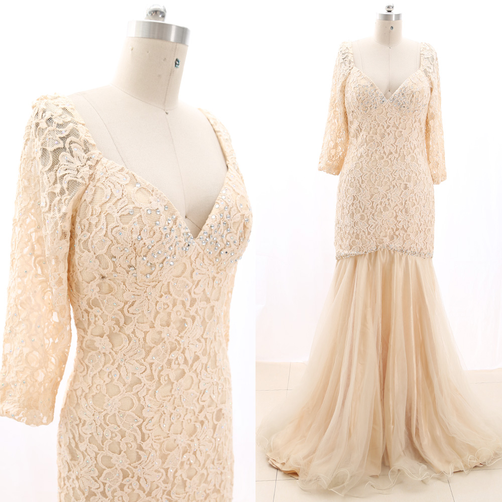 MACloth Blush Mermaid V Neck Floor-Length Long Crystal Tulle   Prom     Dresses     Dress   M 267350 Clearance