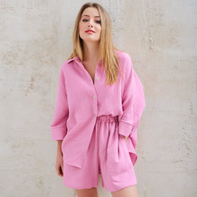 HECHAN Loose Pajamas Female Three Quater Sleeve 2 Piece Set Turn Down Collar Tops Casual Shorts Sleepwear Women Home Suit Sets