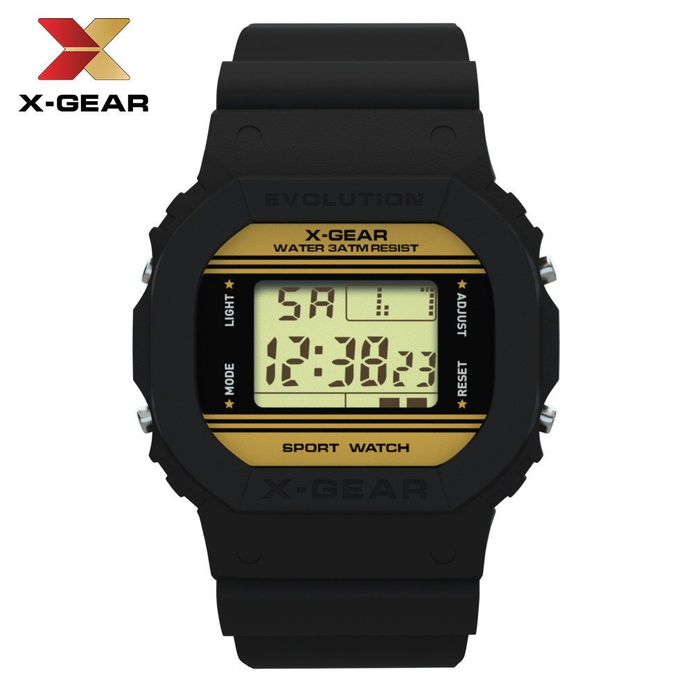 Fashion Men Digital Watch Luxury Stainless Steel Bracelet Electronic Wrist watch Top Brand X-GEAR Sports Men's Watches Clock title=