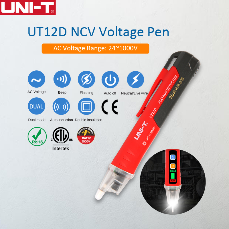 UNI T UT12D Non Contact AC Voltage Detector Pen with Audio Light Alarm and Low Voltage Indicator 4