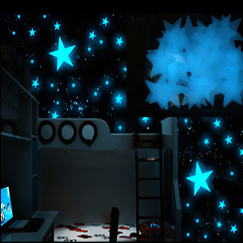100pcs Room Decor Fluorescent Glow In The Dark Stars Wall <font><b>Sticker</b></font> Home Interior <font><b>Stickers</b></font> <font><b>Muraux</b></font> Pour Enfants Chambres Dropship c image