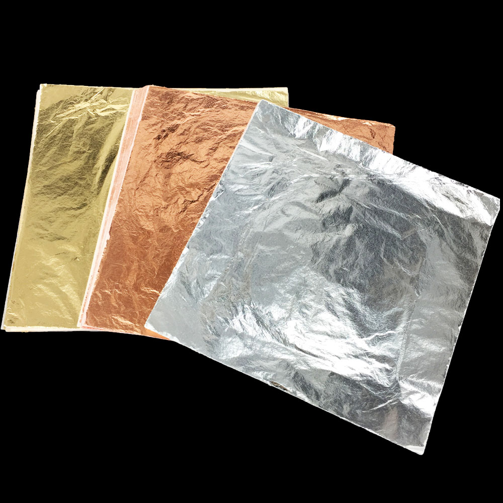 16x16 cm 100 folhas de folha de folha de ouro de imitação folhas folha de alumínio de cobre dourado