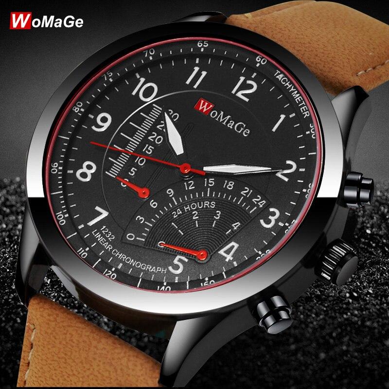 Fashion Luxury Brand Womage Men Watches Casual Leather Straps Wristwatches Relogio Masculino Erkek Kol Saati Reloj Hombre D7