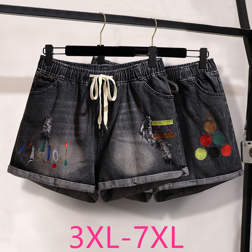 2020 New Spring Summer Plus Size Denim Shorts For Women Large Loose Casual Elastic Waist Hole Shorts Black Belt 4XL 5XL 6XL 7XL