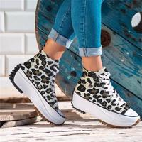 2021 New Women's Shoes Fashion Casual Trend Solid Color Canvas High-top Thick-soled Comfortable All-match Sneakers 6KF112 1