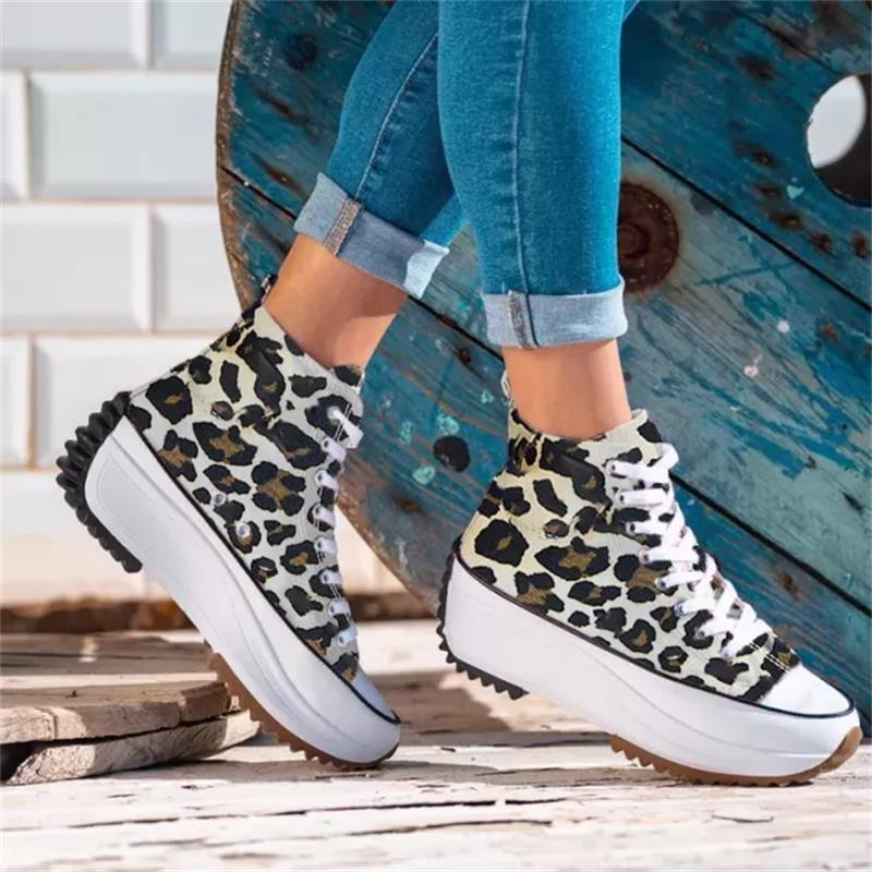 Новинка 2021, женская обувь, модные повседневные трендовые однотонные холщовые высокие кроссовки на толстой подошве, удобные универсальные к...
