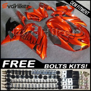 Custom fairing for ZX-14R 2006-2011 ZX14R 2012-2016 ABS motor panels Body Kit Injection mold black flames+gifts