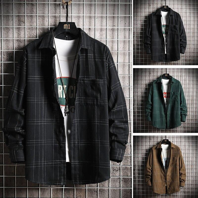 2019 New Fashion  Korea Style Oversized Casual Men Plaid Shirt  Streetwear Men Shirt Long Sleeve