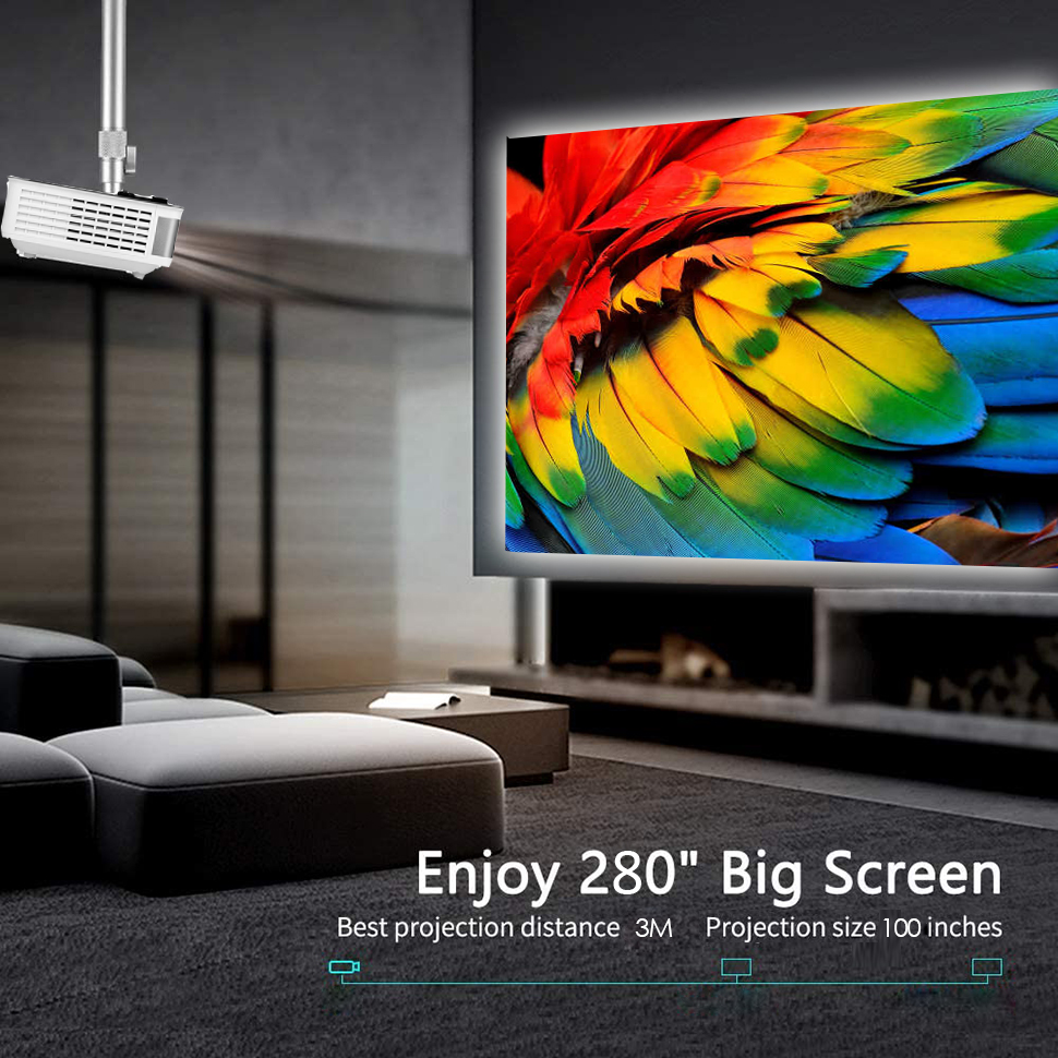 TRANSJEE 1080P LED Full HD Unterstützung 4K Projektor für Smartphone Android Film Projektor Home Business Education Projektor проектор