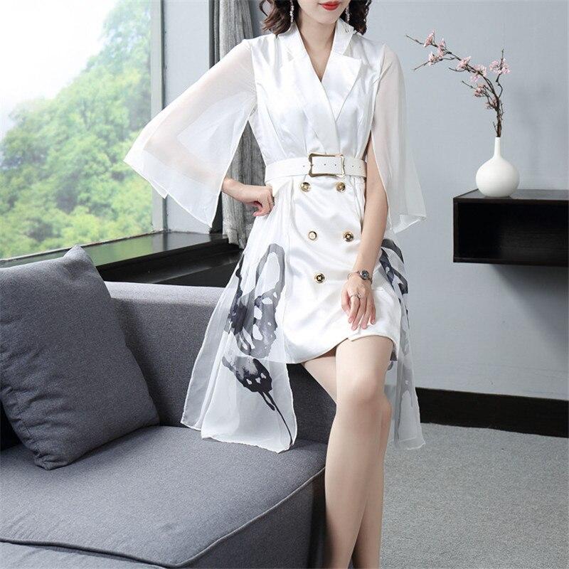 Подиум 2019 Осень Зима Новая мода Белое Женское платье зубчатый двубортный жилет сшивание мини платье Офисная Леди - 5