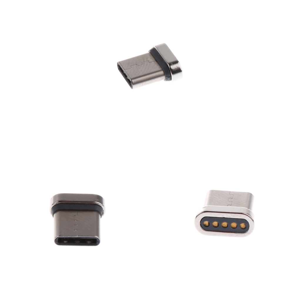 3 Pcs Aluminum Alloy USB Type C Male Cord Magnetic Tip Charger Adapter Connector For Android Phones And Tablet Silver