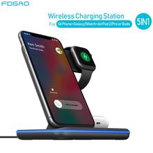 15W Qi Wireless Charger For iPhone 11 XS XR X 8 Samsung S10 S20 5 in 1 Charging Dock Station for Apple Watch 5 4 3 2 Airpods Pro