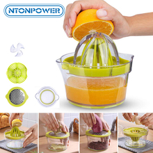 Ручная Соковыжималка NTONPOWER 4 в 1, соковыжималка для цитрусовых, лимона, апельсина, Многофункциональные кухонные гаджеты, аксессуары, фильтр для яиц белого цвета