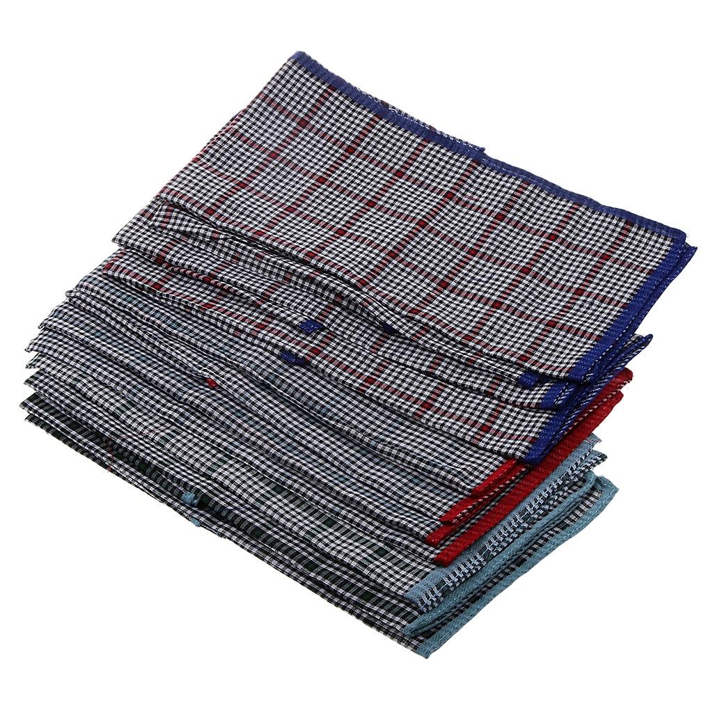 24 Pieces Pure Men Cotton Handkerchiefs Set For Men - Vintage Plaids Patterned 40 X 40 Cm