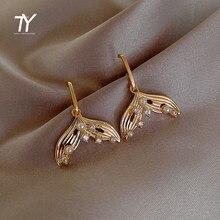 Pendientes de perlas con forma de cola de sirena para mujer, joyería Coreana de la manera, elegantes y de lujo, inusuales, 2020