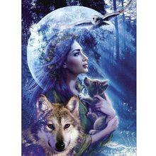 DIY 5D Diamond Painting landscape Wolf girl Cross Stitch Mosaic Rhinestone Embroidery Needlework Patterns Decoration Sale