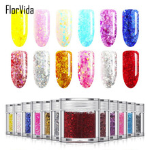FlorVida 24 Colors Nail Art Glitters&Sequins 10ml/bottle Make Up Glitters Dust Beauty Decoration Glitters