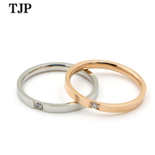 2019 Fashion Top Quality Concise Zircon Wedding Stainless Steel Material Rose Gold Color Ring Never Fade Jewelry