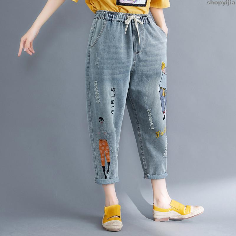 Womens Summer Fashion Streetwear Loose Denim Jean Harem Pants 3XL 4XL Plus Size Cartoon Embroidery Boyfriend Jeans
