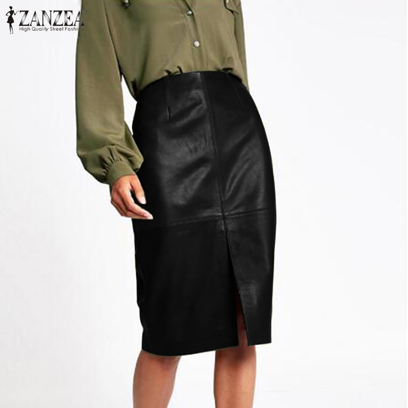 Lady Office Pencil Skirt ZANZEA Spring PU Faux Leather Skirt Fashion Split Black Skirt Women Solid High Waist Short Jupe Vestido