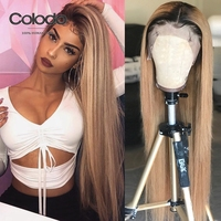 COLODO Remy Blonde Wig With Dark Root Brazilian Ombre Color Long Straight Human Hair Lace Front Wigs 130% Density 13X4 Lace Wig