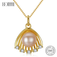 DOTEFFIL 100% 925 Silver Gilt Scallop Pearl Necklace Natural Freshwater Pearl Pendant Necklace Pearl Jewelry Women Wedding Gift s925 pure silver necklace 9 9 5mm natural freshwater pearl pendant jewelry wholesale for women wedding gift