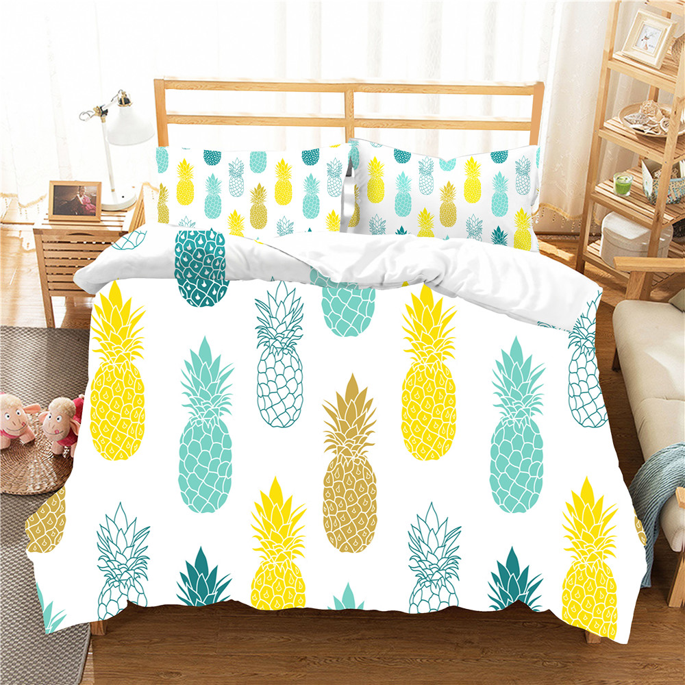 Double Bed Coverlet Home Textiles Cartoon Pineapple Pattern 3D Bedding Cover Bedroom Clothes With Pillowcase For Girl