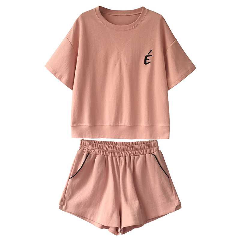 Zuolunouba Summer New Style Hong Kong Style Sports Casual Ladies Suit Loose Korean Version Of The College Style Two-piece Suit