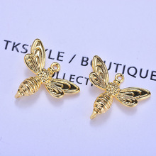 (173) 6PCS 13x17MM 24K Gold Color Brass Bee Earrings Pendants Charms High Quality Diy Jewelry Findings Accessories