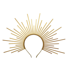 Gold Spike Halo Crown Kopfstück NYLON ZIP TIE Elf Hochzeit Braut Haar Band Frauen Stirnband Kopfschmuck